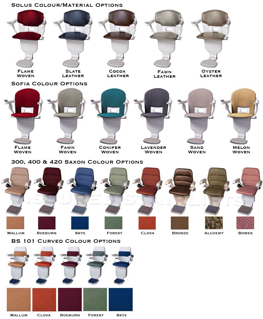 Upholstery Colours for Stannah Stairlifts